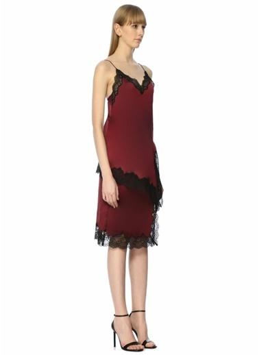 Mo&Co Askılı Dantelli Midi Elbise Bordo